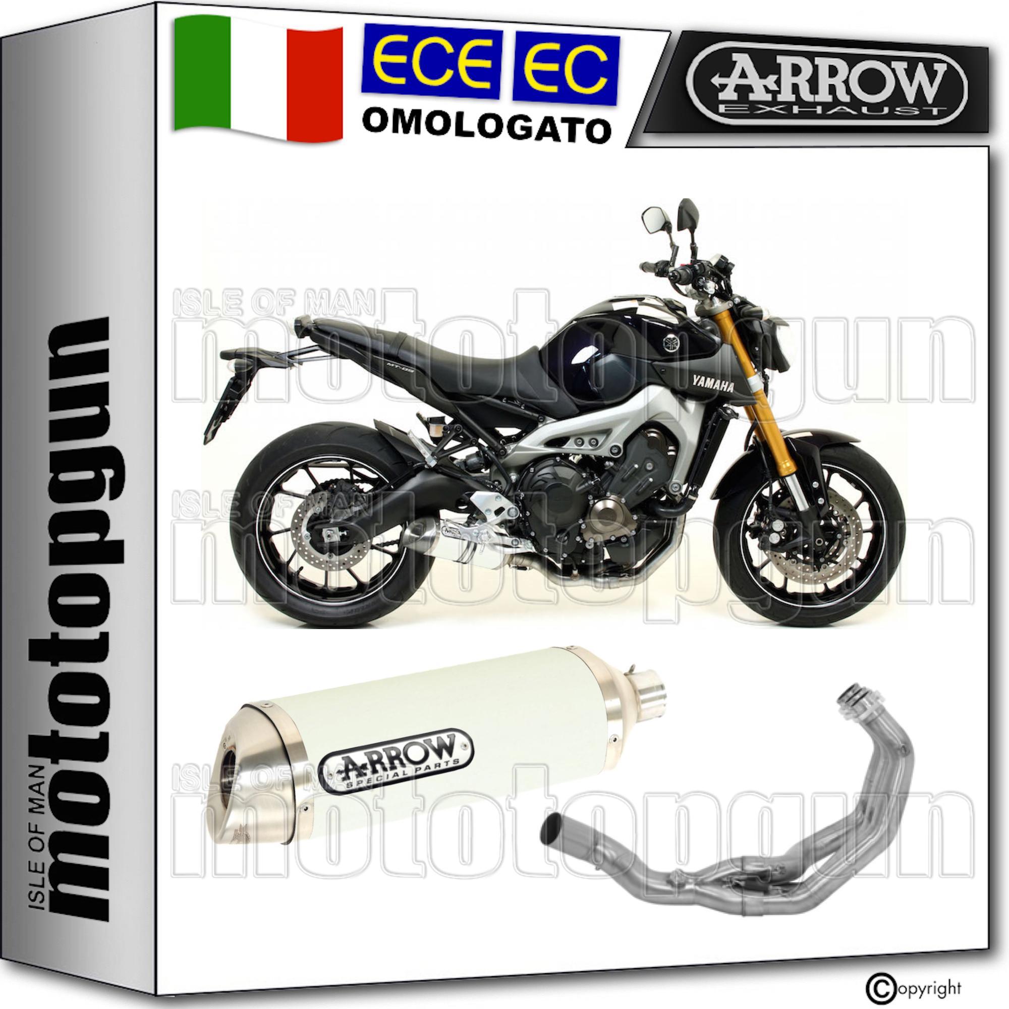 Arrow Scarico Completo Cat Thunder Alluminio Bianco Yamaha Mt 09 2015 15 2016 16