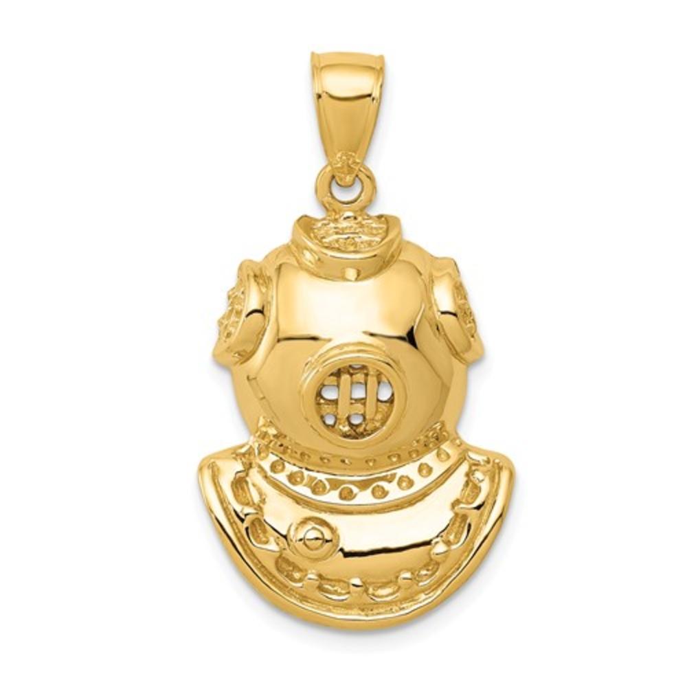 14K-Yellow-Gold-Diver-Helmet-Marine-Ocean-Lover-Gift-Charm-Pendant-30mm