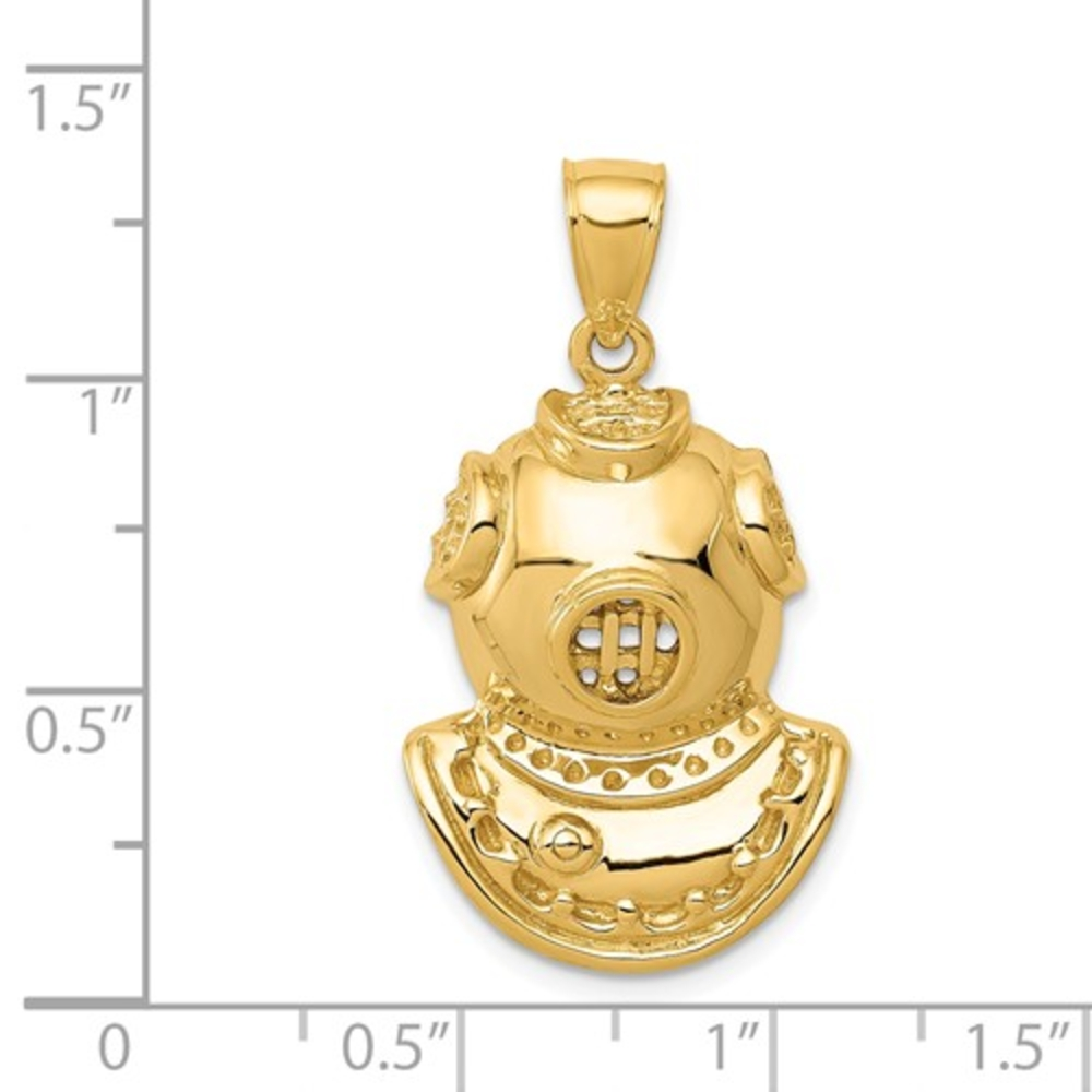 14K-Yellow-Gold-Diver-Helmet-Marine-Ocean-Lover-Gift-Charm-Pendant-30mm miniature 3