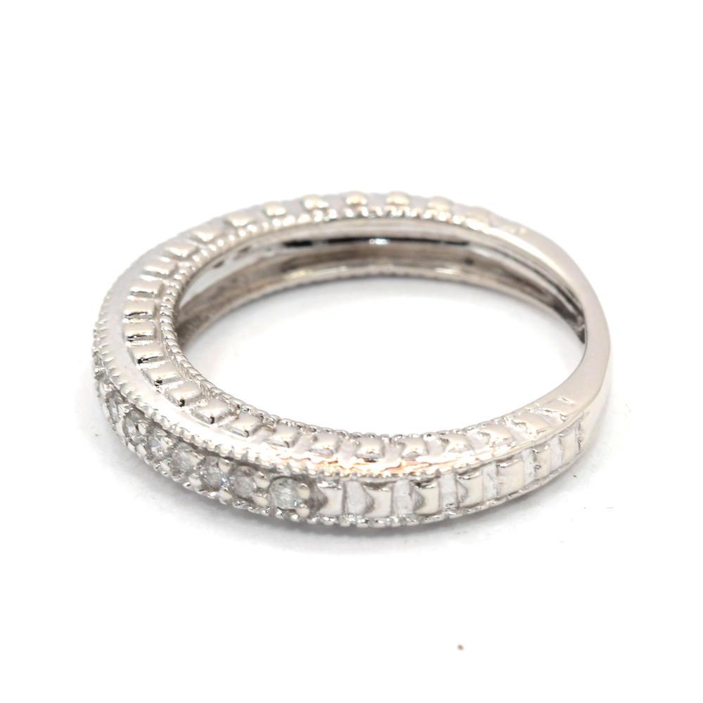 vintage classic estate ladies 10k white gold diamond ring. Black Bedroom Furniture Sets. Home Design Ideas