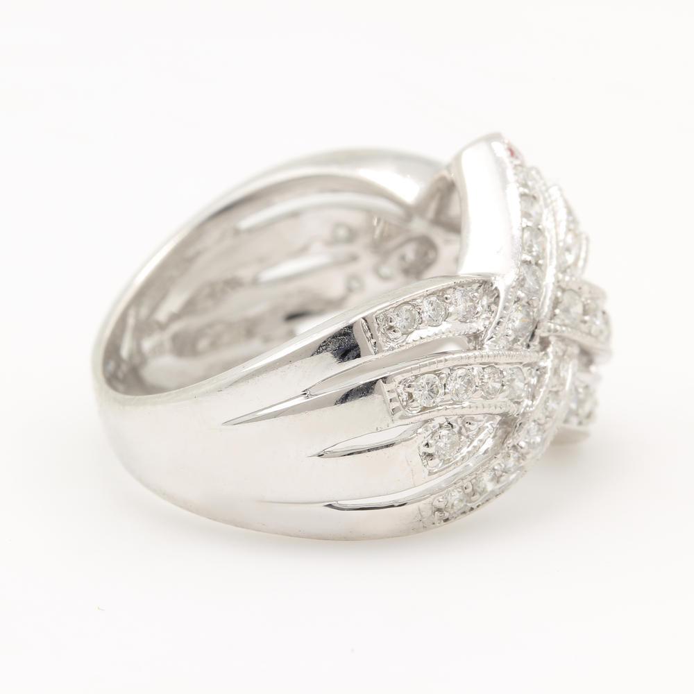 New Modern 14k White Gold Diamond 1 20ctw Right Hand Ring
