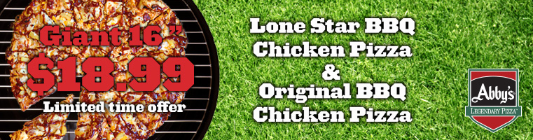 Giant Lone Star BBQ & Original BBQ Chicken Pizza for $18.99