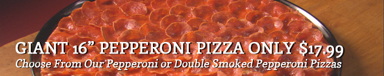 pepperoni or double smoked pepperoni pizzas