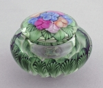 Salazar - Lidded Jewelry Jar - Hydrangea on Crystal