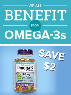 Save $2 on Webber Naturals Omega-3