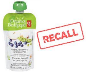 PC Organics Apple, Blueberry & Green Pea Recall