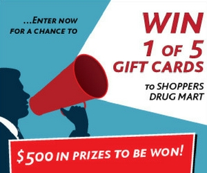 Win 1 of 5 $100 Shoppers Drug Mart Gift Cards