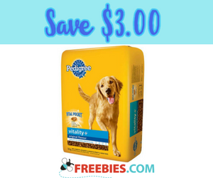 Save $3 on Pedigree Vitality+ Dog Food