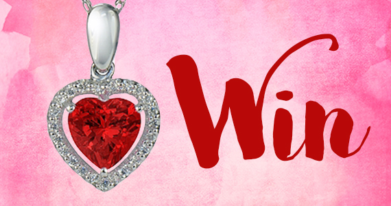 Win a 14K Gold Ruby Heart Halo Pendant