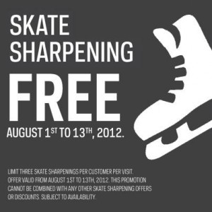 Free Skate Sharpening at Sport Chek