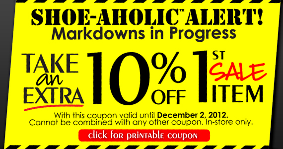 EXTRA 10% Off 1st Sale Item Coupon at Town Shoes