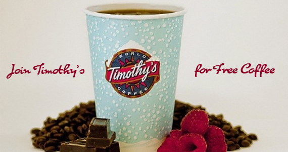 Join Timothy's for Free Coffee