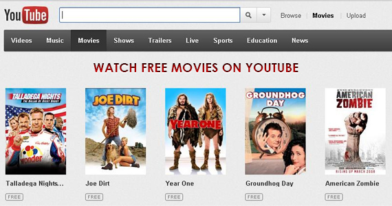 Watch Free Movies on YouTube