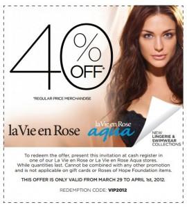 Save 40 off at La Vie En Rose