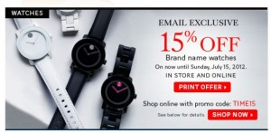 Save 15 Percent Off Brand Name Watches