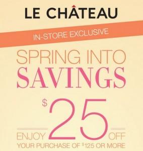 Save 25 at Le Chateau
