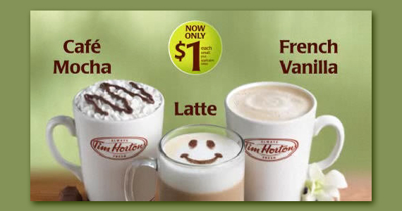 $1 for a Small Specialty Coffee at Tim Hortons