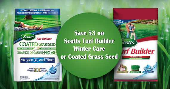 Save $3 on Scotts Turf Builder Winter Care or Coated Grass Seed