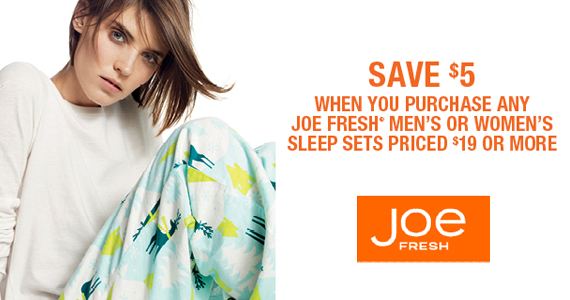 Save $5 on Sleep Sets at Joe Fresh