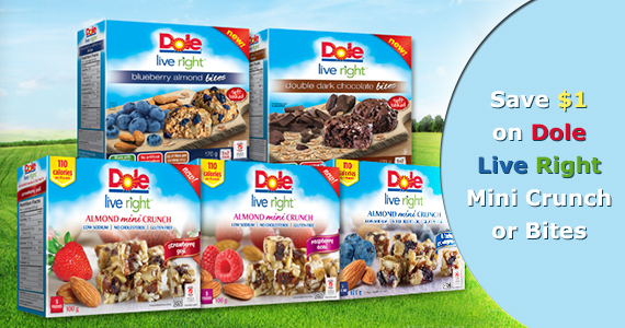 Save $1 on Dole Live Right Mini Crunch or Bites