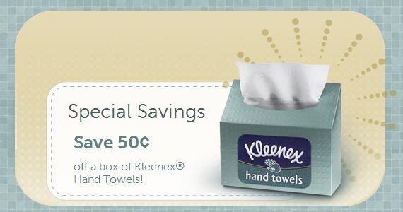 Save 50¢ on Kleenex Hand Towels