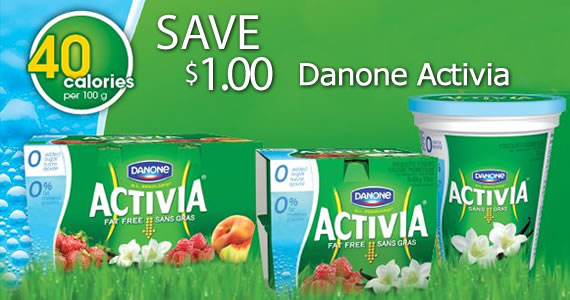 Save $1 on Danone Activia Yogurt