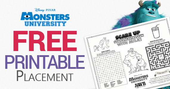 Monster's University Free Printable Placement
