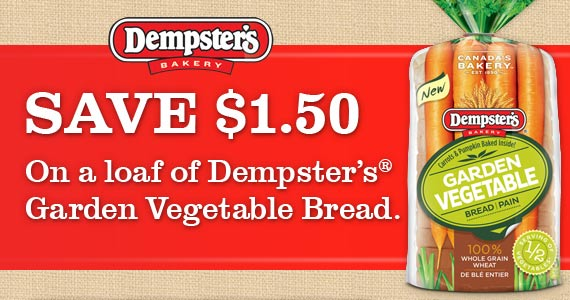 Save $1.50 on Dempster's Garden Vegetable Bread