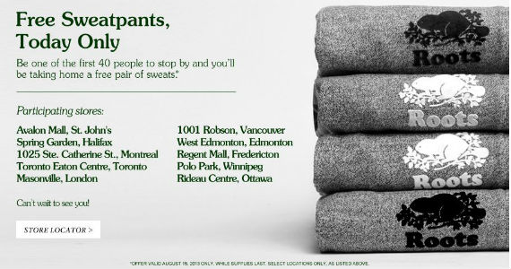Free Sweatpants from Roots + 40% Off All day