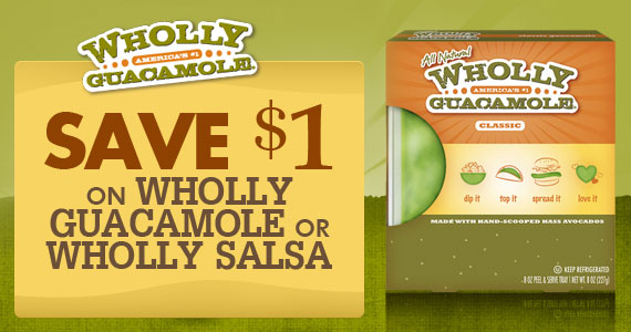 Save $1 on Wholly Guacamole or Wholly Salsa