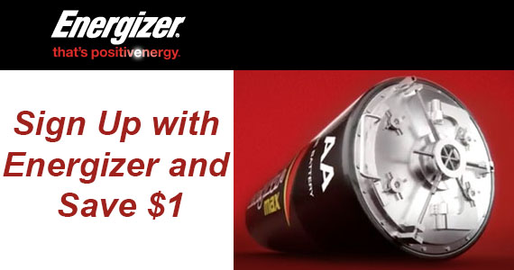 Sign Up with Energizer and Save $1