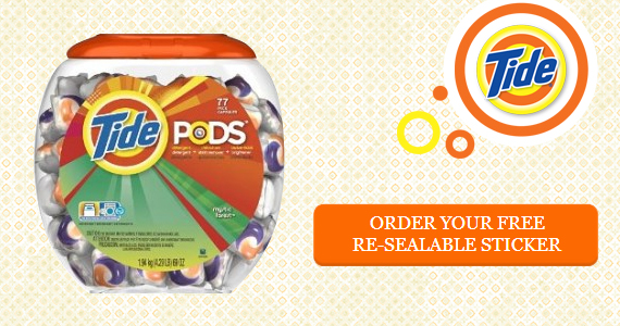 Free Re-Sealable Stickers for Tide Pods Tubs