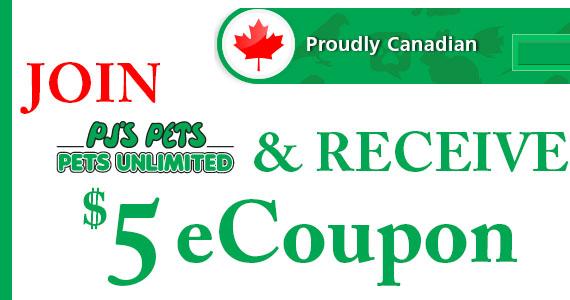 Join PJ's Pets & Receive a $5 eCoupon