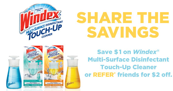 Save $2 on Windex Touch-Up Cleaner