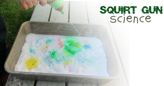 Squirt Gun Volcanoes Science Experiment for Kids