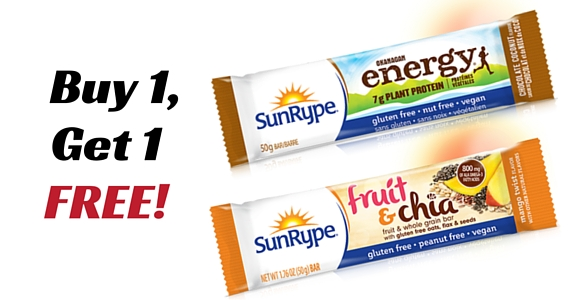 Buy 1, Get 1 Free Sunrype Energy or Fruit & Chia Bars