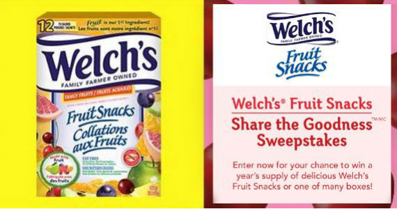 Win a Year's Suppy of Welch's Fruit Snacks