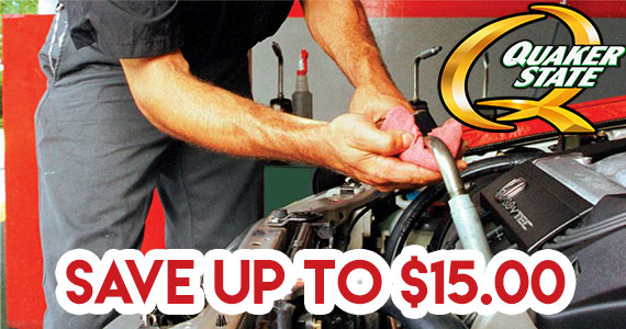 Save Up to $15 on a Quaker State Oil Change