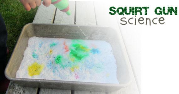 Squirt Gun Volcanoes Science Experiment for Kids