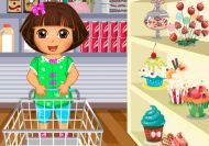 Imagen del juego: Dora preparándose para un picnic
