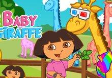 Imagen del juego: Cuida a la pequeña jirafa con Dora