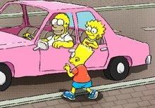 Homer aparcando el coche