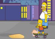 La carrera de Homer contra Bart y su Skate