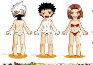 Vestir a los ninjas Kakashi, Obito y Rin