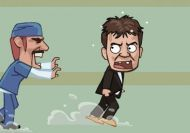 Imagen del juego: Charlie Sheen escapando del centro de rehabilitación