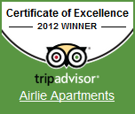 TripAdvisor Certificate of Excellence 2012 Winner