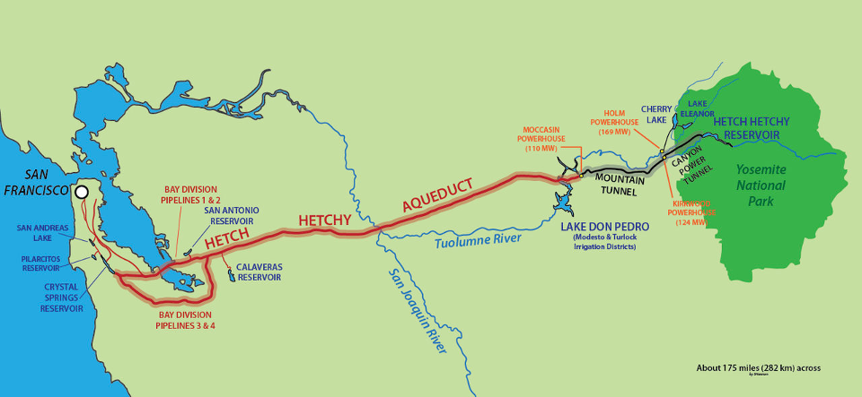 Fig. 1, Hetch Hetchy System Map