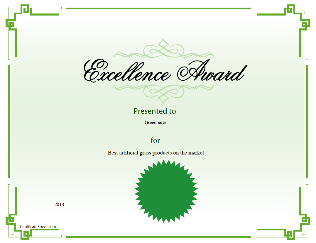 certificate best product artificial grass