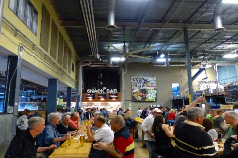 Brewery offering self & guided tours plus a tasting room & snack bar with elevated American grub.