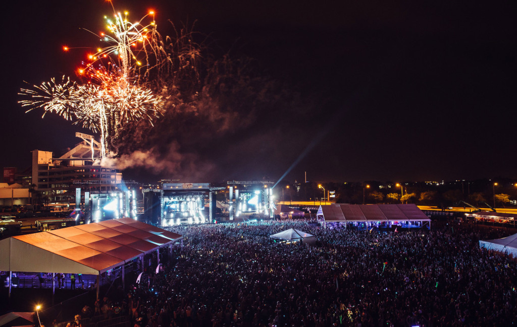 Fireworks over main stage at Sunset Music Festival 2014